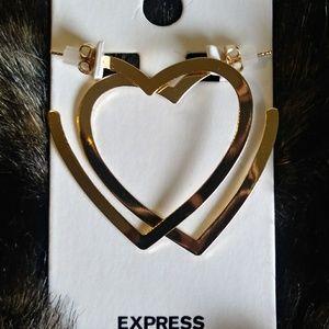 Jewelry - Express gold chrome heart hoop earrings NWT
